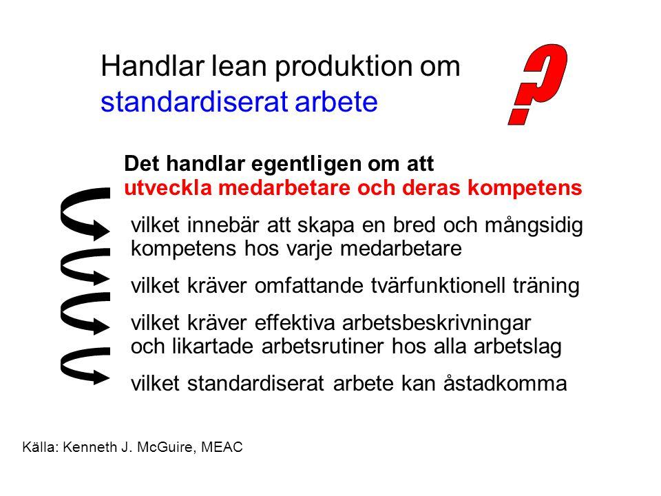 Handlar lean produktion om standardiserat arbete Det handlar egentligen om att utveckla medarbetare och deras kompetens vilket innebär att skapa en bred och mångsidig kompetens hos varje medarbetare vilket kräver omfattande tvärfunktionell träning vilket kräver effektiva arbetsbeskrivningar och likartade arbetsrutiner hos alla arbetslag vilket standardiserat arbete kan åstadkomma Källa: Kenneth J.