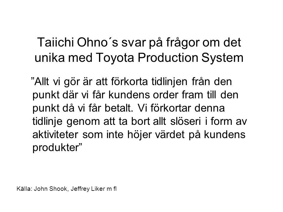Taiichi Ohno´s svar på frågor om det unika med Toyota Production System Allt vi gör är att förkorta tidlinjen från den punkt där vi får kundens order fram till den punkt då vi får betalt.