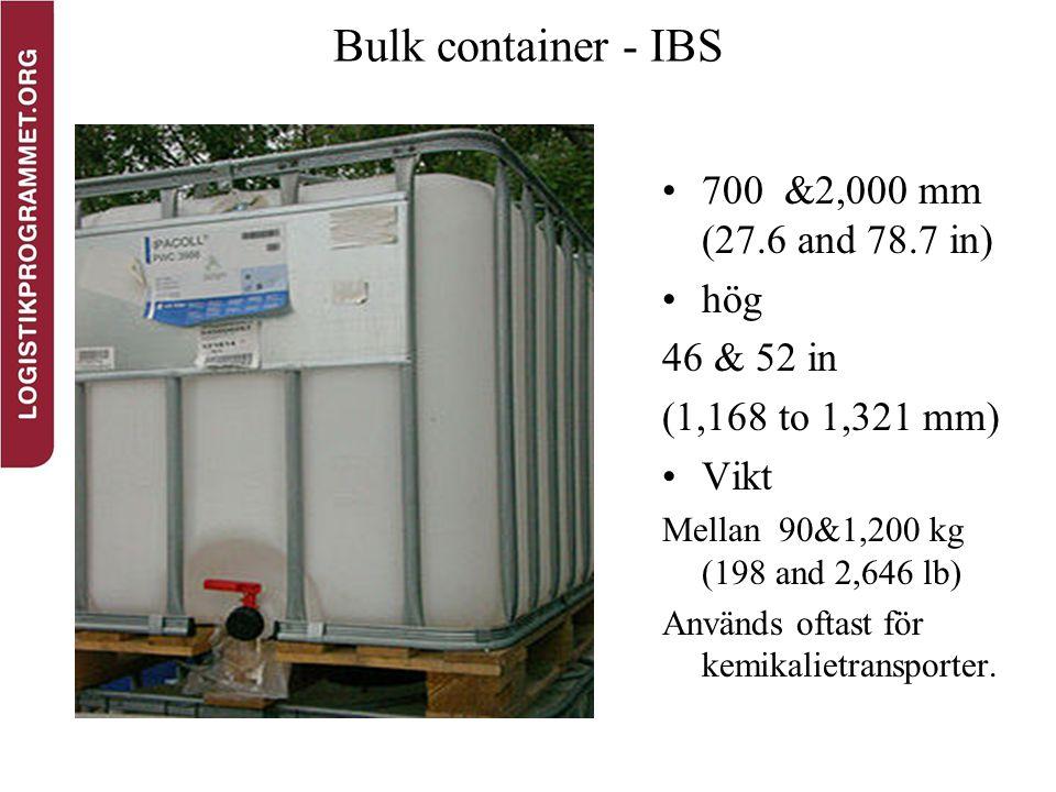 Bulk container - IBS 700 &2,000 mm (27.6 and 78.7 in) hög 46 & 52 in (1,168 to 1,321 mm) Vikt Mellan 90&1,200 kg (198 and 2,646 lb) Används oftast för