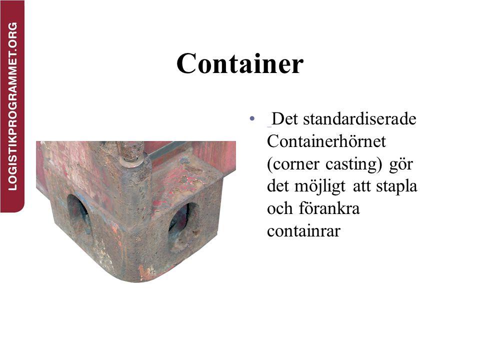 Container Det standardiserade Containerhörnet (corner casting) gör det möjligt att stapla och förankra containrar
