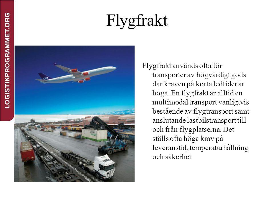 Flygfrakt Flygfrakt används ofta för transporter av högvärdigt gods där kraven på korta ledtider är höga. En flygfrakt är alltid en multimodal transpo