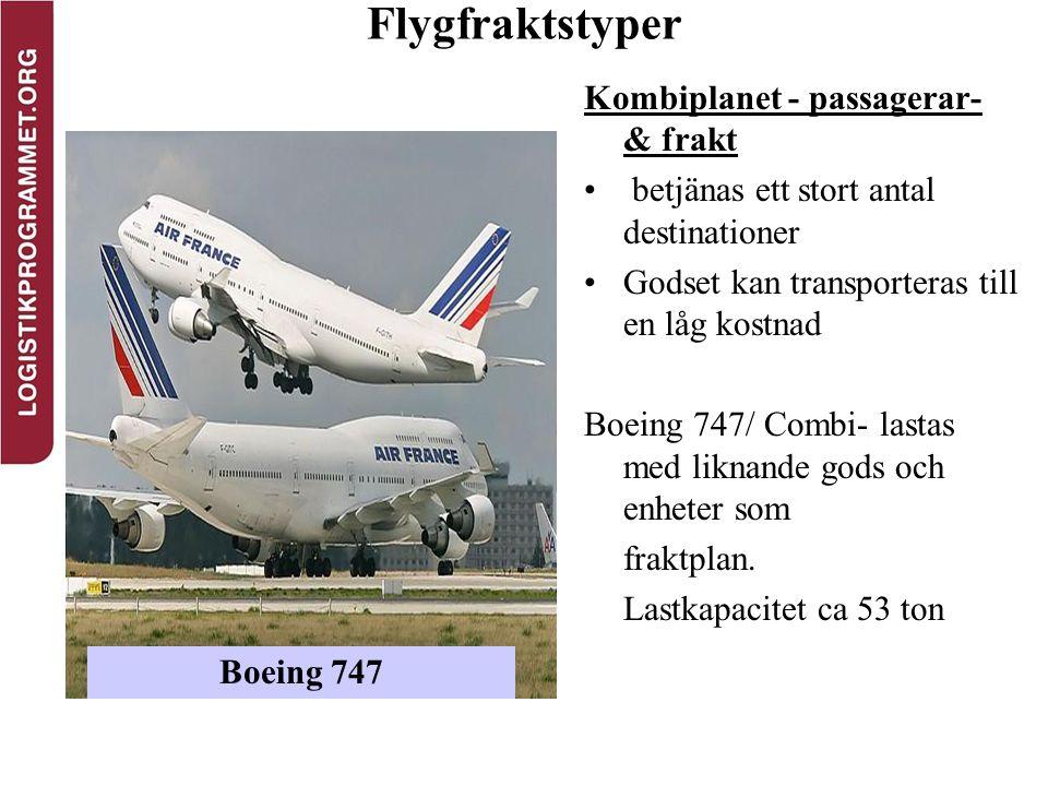 Flygfraktstyper Kombiplanet - passagerar- & frakt betjänas ett stort antal destinationer Godset kan transporteras till en låg kostnad Boeing 747/ Comb