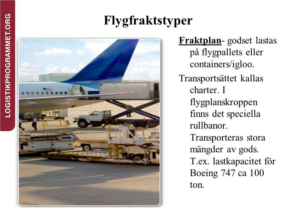 Flygfraktstyper Fraktplan- godset lastas på flygpallets eller containers/igloo. Transportsättet kallas charter. I flygplanskroppen finns det speciella