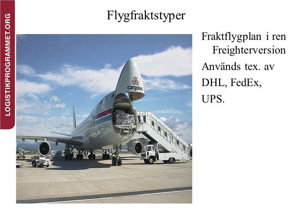 Flygfraktstyper Fraktflygplan i ren Freighterversion Används tex. av DHL, FedEx, UPS.