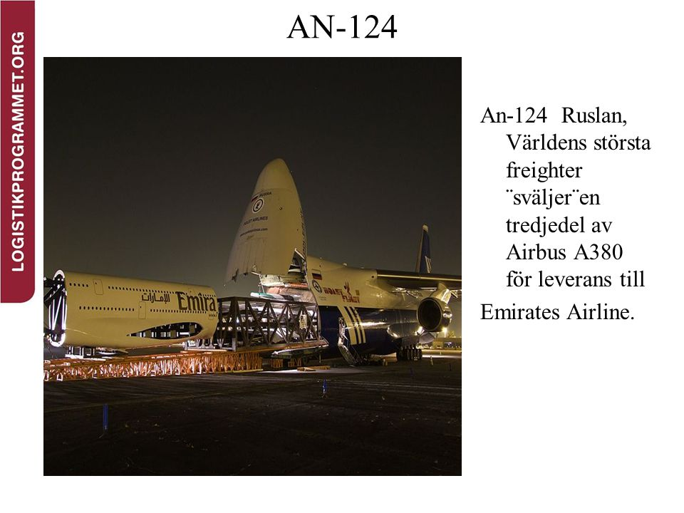 AN-124 An-124 Ruslan, Världens största freighter ¨sväljer¨en tredjedel av Airbus A380 för leverans till Emirates Airline.