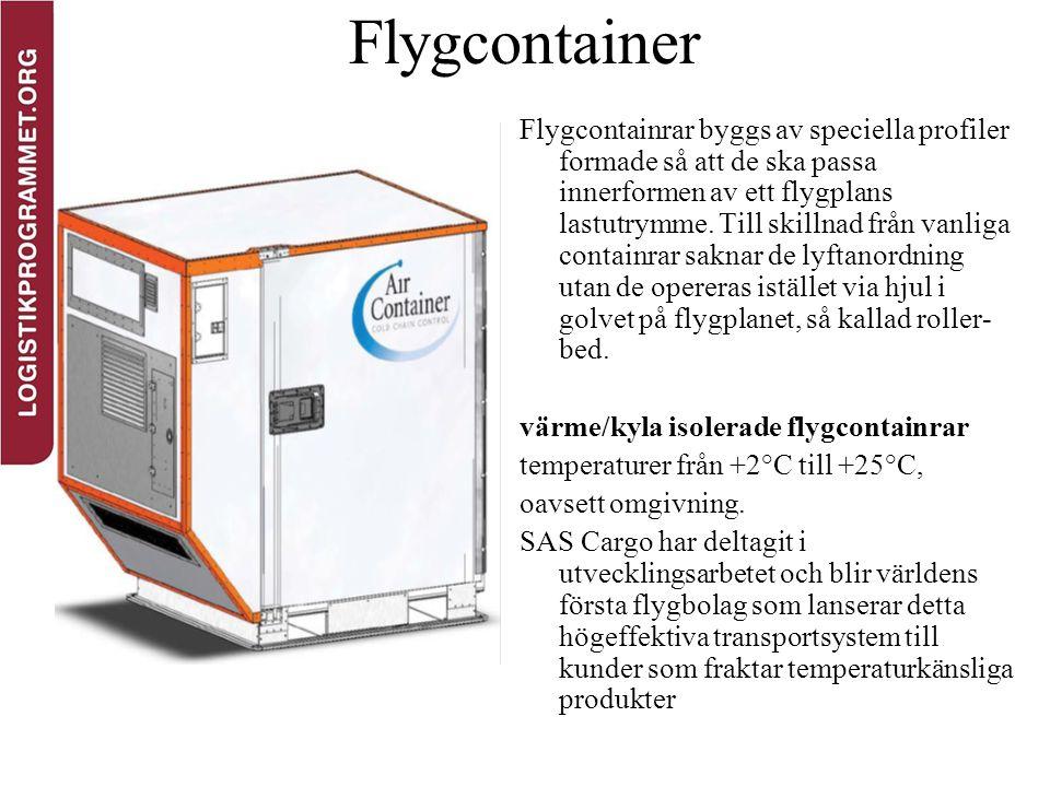 Flygcontainer Flygcontainrar byggs av speciella profiler formade så att de ska passa innerformen av ett flygplans lastutrymme. Till skillnad från vanl