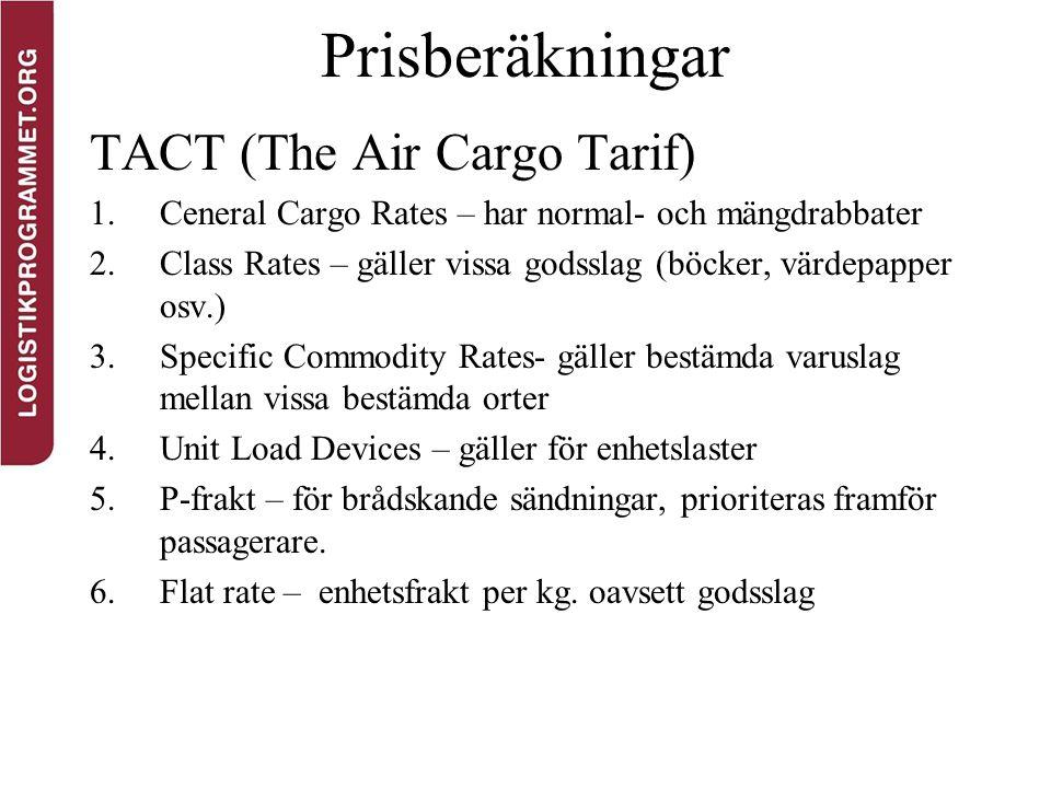Prisberäkningar TACT (The Air Cargo Tarif) 1.Ceneral Cargo Rates – har normal- och mängdrabbater 2.Class Rates – gäller vissa godsslag (böcker, värdep
