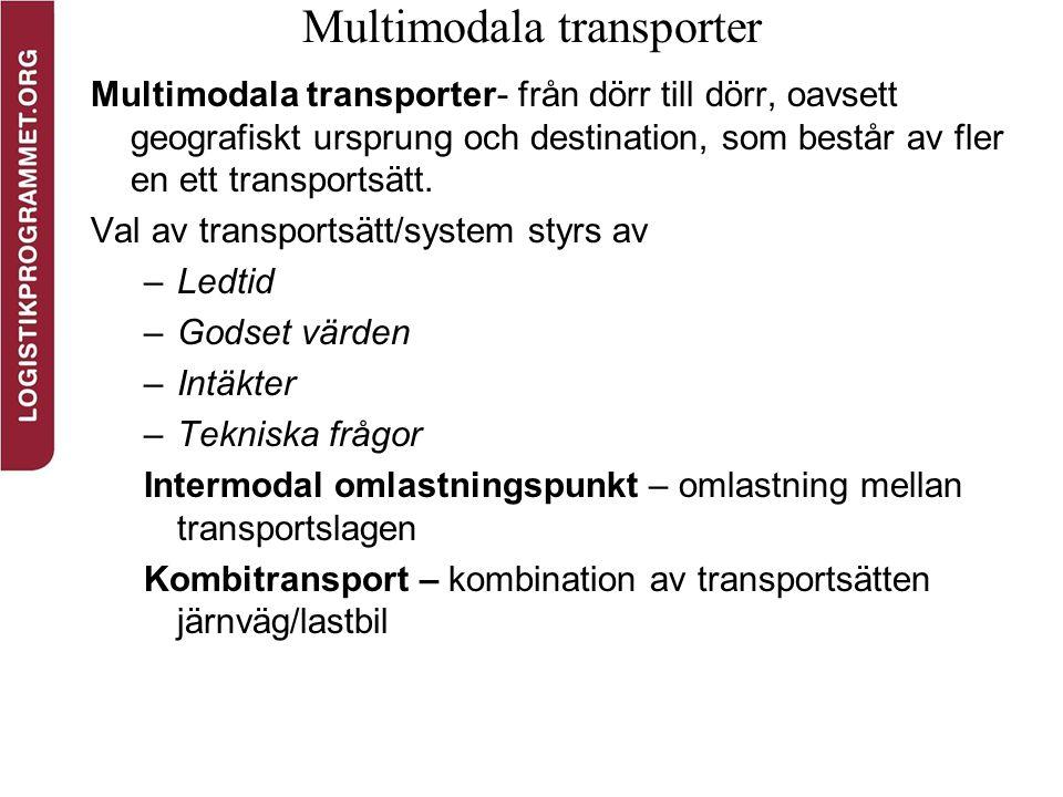 Multimodala transporter Multimodala transporter- från dörr till dörr, oavsett geografiskt ursprung och destination, som består av fler en ett transpor