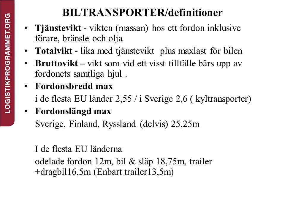 BILTRANSPORTER/definitioner Tjänstevikt - vikten (massan) hos ett fordon inklusive förare, bränsle och olja Totalvikt - lika med tjänstevikt plus maxl