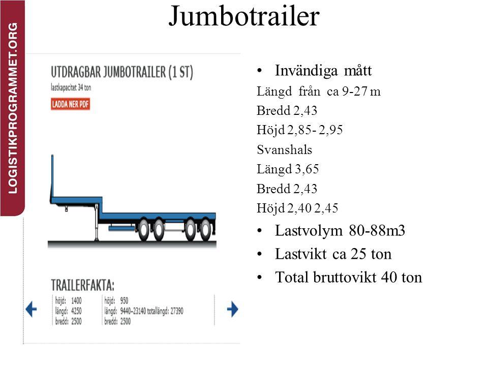 Jumbotrailer Invändiga mått Längd från ca 9-27 m Bredd 2,43 Höjd 2,85- 2,95 Svanshals Längd 3,65 Bredd 2,43 Höjd 2,40 2,45 Lastvolym 80-88m3 Lastvikt