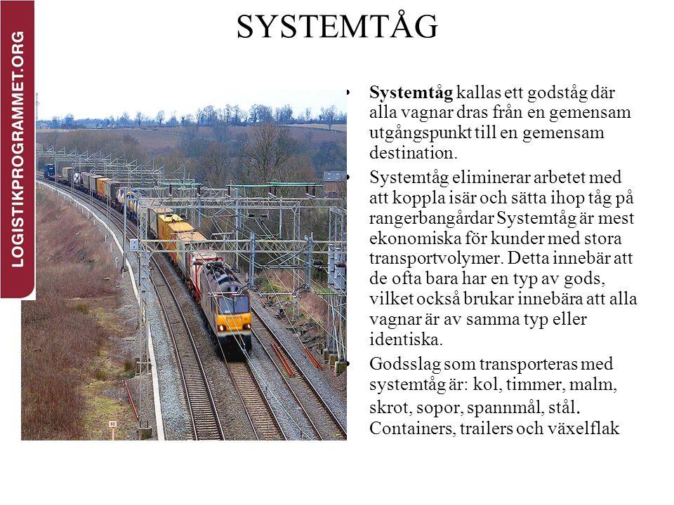 SYSTEMTÅG Systemtåg kallas ett godståg där alla vagnar dras från en gemensam utgångspunkt till en gemensam destination. Systemtåg eliminerar arbetet m