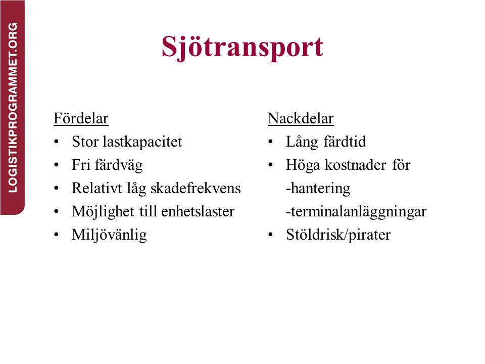 FARTYGSTYPER Torr bulk, flytande bulk, Lo/Lo, Ro/Ro, Ro/Ro-färjor, järnvägsfärjor och containerfartyg RO-RO-fartyg (eng.