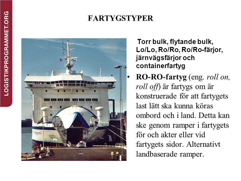 FARTYGSTYPER Torr bulk, flytande bulk, Lo/Lo, Ro/Ro, Ro/Ro-färjor, järnvägsfärjor och containerfartyg RO-RO-fartyg (eng. roll on, roll off) är fartygs