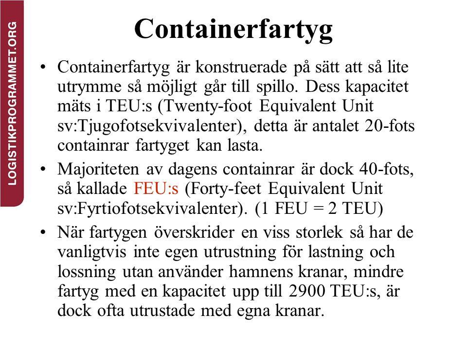 Containerfartyg Containerfartyg är konstruerade på sätt att så lite utrymme så möjligt går till spillo. Dess kapacitet mäts i TEU:s (Twenty-foot Equiv