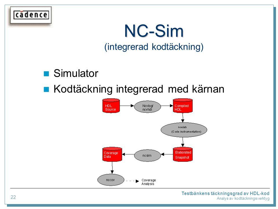 Testbänkens täckningsgrad av HDL-kod Analys av kodtäckningsverktyg NC-Sim NC-Sim (integrerad kodtäckning) Simulator Kodtäckning integrerad med kärnan 22