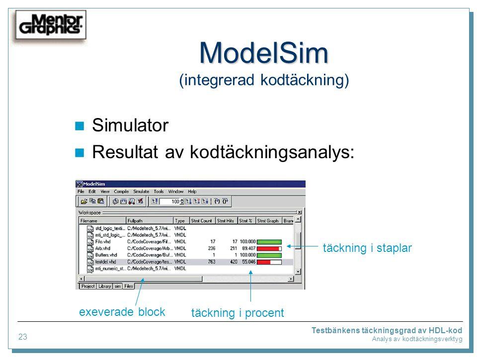 Testbänkens täckningsgrad av HDL-kod Analys av kodtäckningsverktyg ModelSim ModelSim (integrerad kodtäckning) Simulator Resultat av kodtäckningsanalys: exeverade block täckning i procent täckning i staplar 23