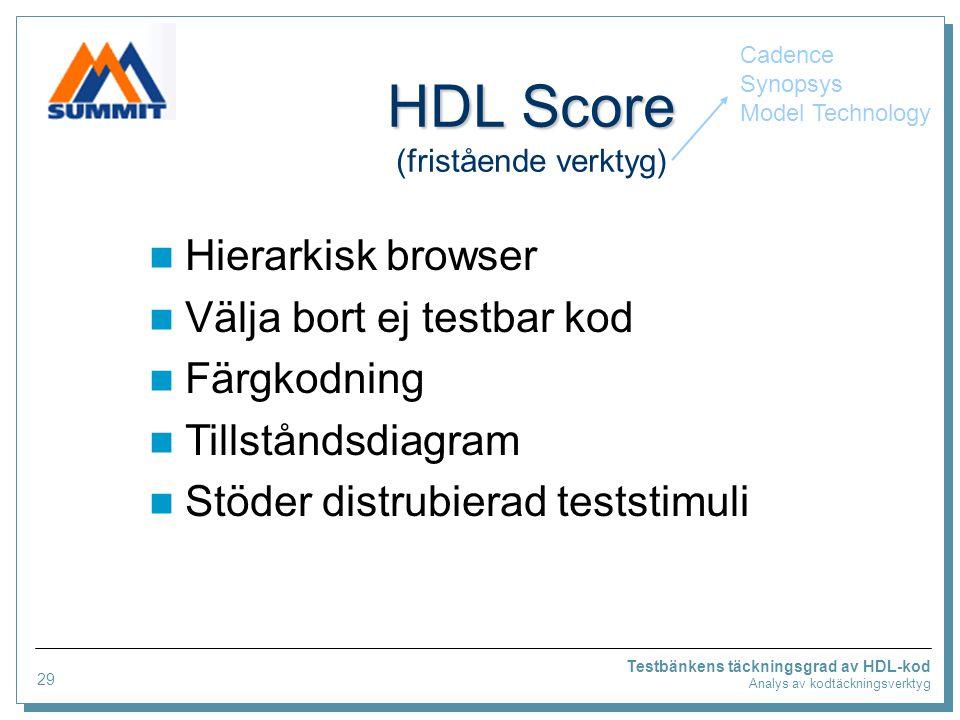 Testbänkens täckningsgrad av HDL-kod Analys av kodtäckningsverktyg HDL Score HDL Score (fristående verktyg) Hierarkisk browser Välja bort ej testbar kod Färgkodning Tillståndsdiagram Stöder distrubierad teststimuli Cadence Synopsys Model Technology 29