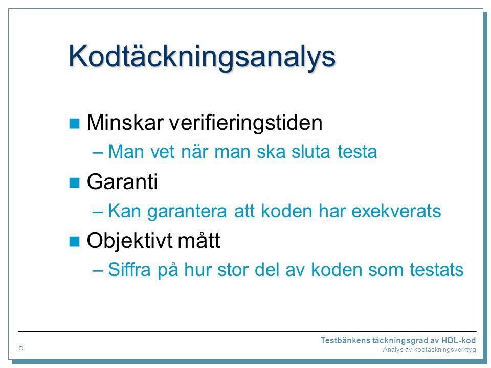 Testbänkens täckningsgrad av HDL-kod Analys av kodtäckningsverktyg SureCov SureCov (fristående verktyg) Koden färgas efter täckningsanalys.