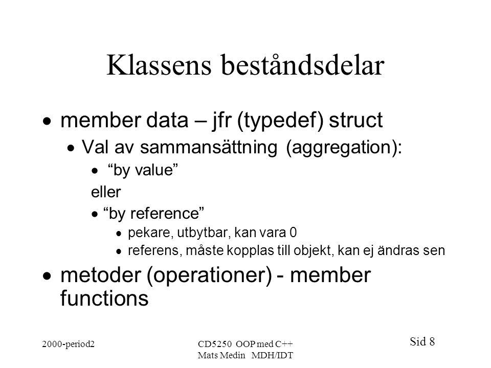 Sid 8 2000-period2CD5250 OOP med C++ Mats Medin MDH/IDT Klassens beståndsdelar  member data – jfr (typedef) struct  Val av sammansättning (aggregation):  by value eller  by reference  pekare, utbytbar, kan vara 0  referens, måste kopplas till objekt, kan ej ändras sen  metoder (operationer) - member functions