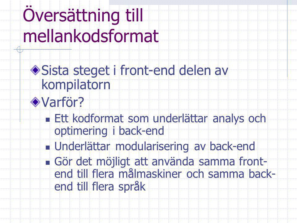 Översättning till mellankodsformat Sista steget i front-end delen av kompilatorn Varför.