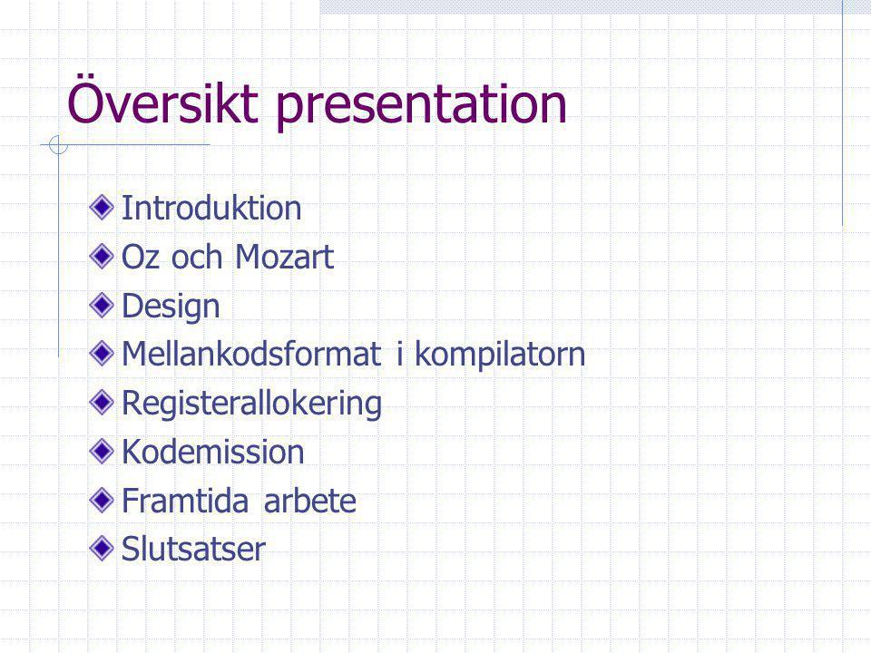 Översikt presentation Introduktion Oz och Mozart Design Mellankodsformat i kompilatorn Registerallokering Kodemission Framtida arbete Slutsatser