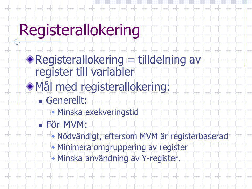 Registerallokering Registerallokering = tilldelning av register till variabler Mål med registerallokering: Generellt:  Minska exekveringstid För MVM:  Nödvändigt, eftersom MVM är registerbaserad  Minimera omgruppering av register  Minska användning av Y-register.