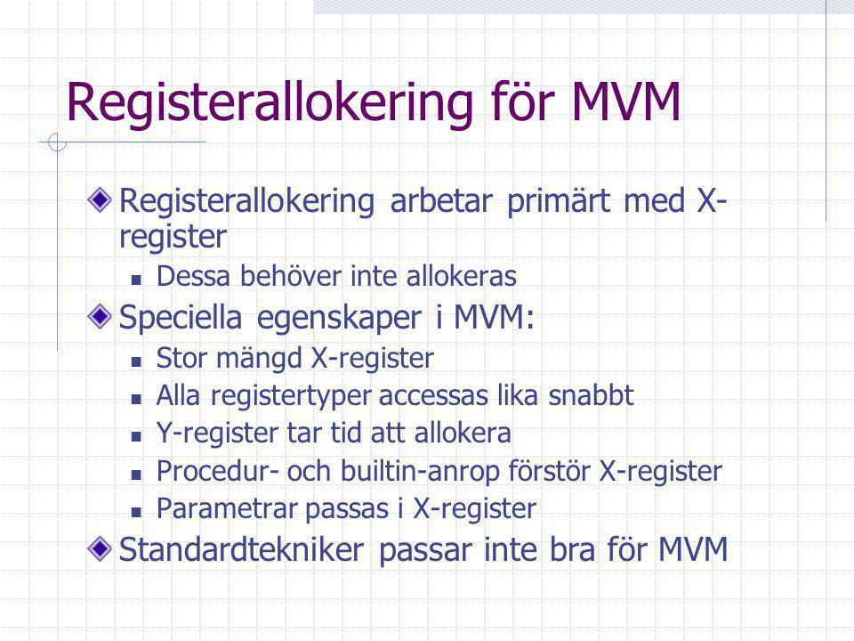 Registerallokering för MVM Registerallokering arbetar primärt med X- register Dessa behöver inte allokeras Speciella egenskaper i MVM: Stor mängd X-register Alla registertyper accessas lika snabbt Y-register tar tid att allokera Procedur- och builtin-anrop förstör X-register Parametrar passas i X-register Standardtekniker passar inte bra för MVM