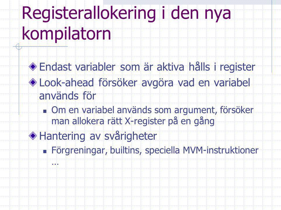 Registerallokering i den nya kompilatorn Endast variabler som är aktiva hålls i register Look-ahead försöker avgöra vad en variabel används för Om en variabel används som argument, försöker man allokera rätt X-register på en gång Hantering av svårigheter Förgreningar, builtins, speciella MVM-instruktioner …