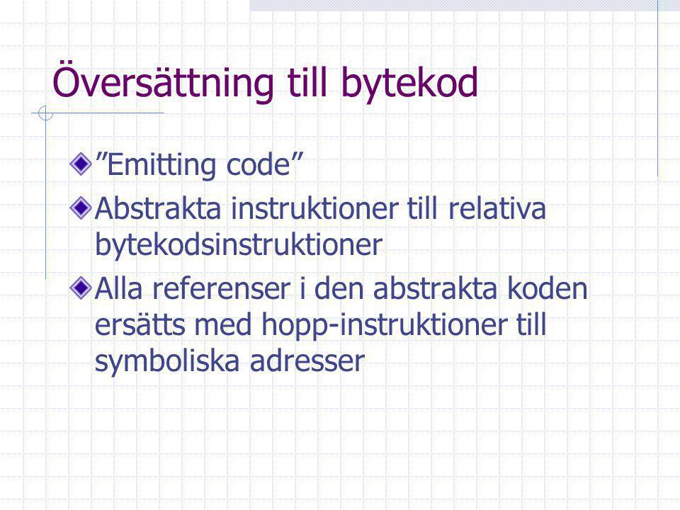 Översättning till bytekod Emitting code Abstrakta instruktioner till relativa bytekodsinstruktioner Alla referenser i den abstrakta koden ersätts med hopp-instruktioner till symboliska adresser