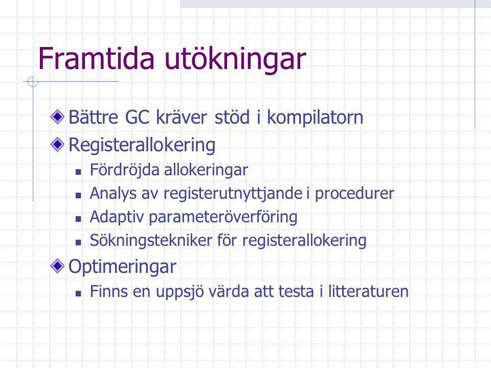 Framtida utökningar Bättre GC kräver stöd i kompilatorn Registerallokering Fördröjda allokeringar Analys av registerutnyttjande i procedurer Adaptiv parameteröverföring Sökningstekniker för registerallokering Optimeringar Finns en uppsjö värda att testa i litteraturen