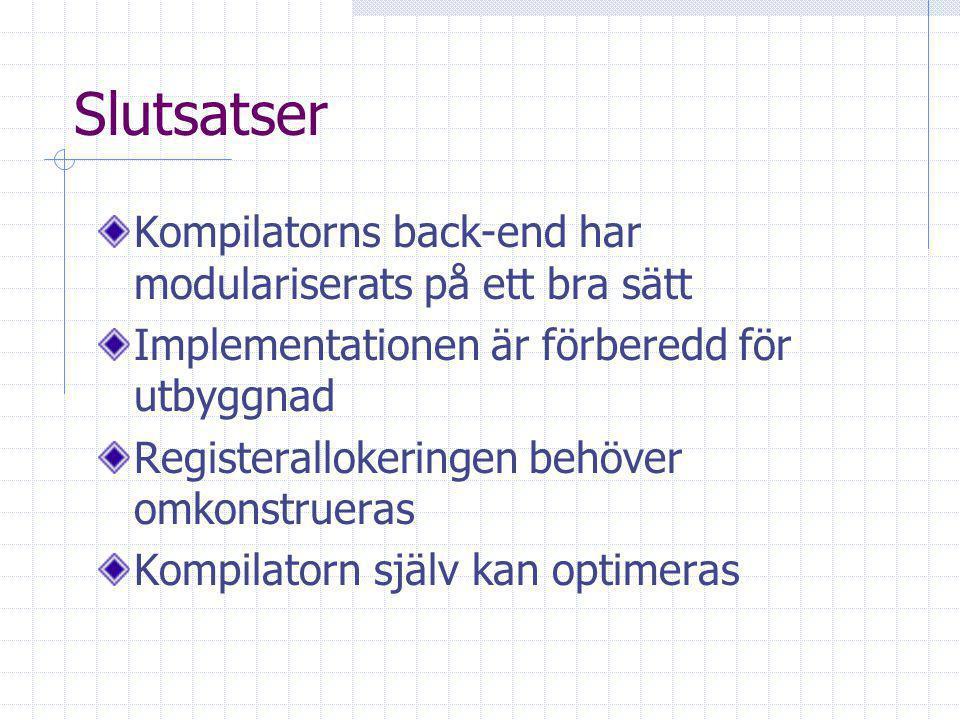 Slutsatser Kompilatorns back-end har modulariserats på ett bra sätt Implementationen är förberedd för utbyggnad Registerallokeringen behöver omkonstrueras Kompilatorn själv kan optimeras