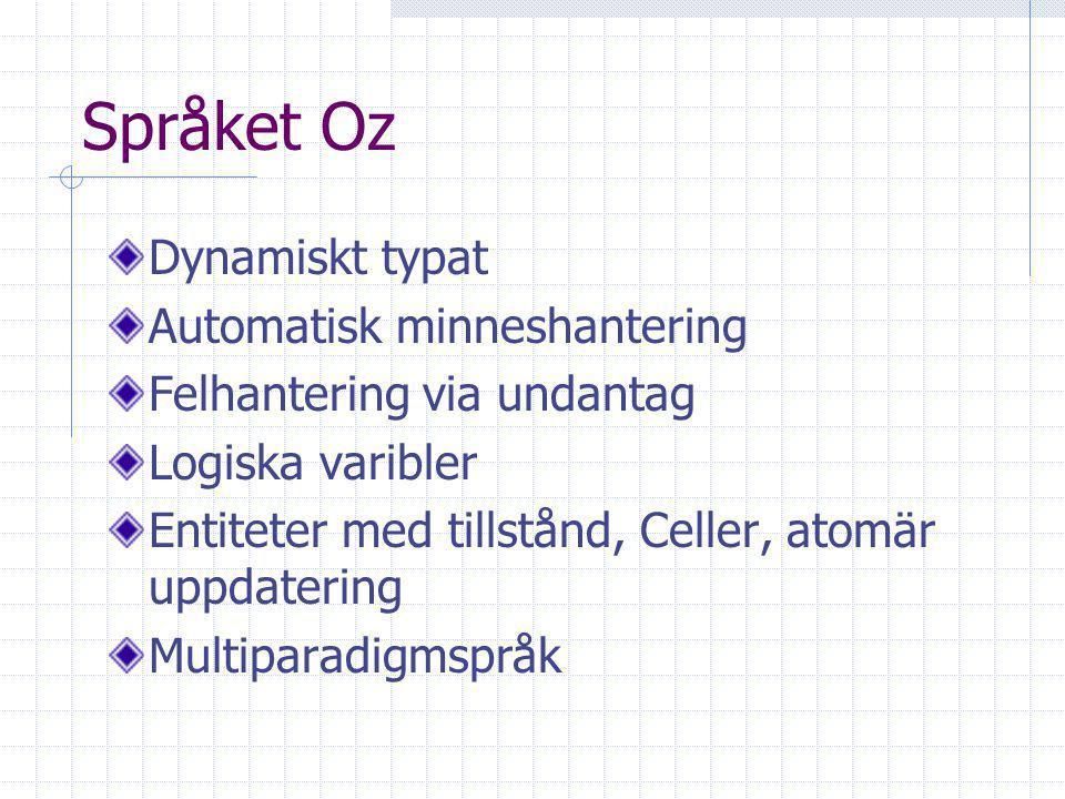 Språket Oz Dynamiskt typat Automatisk minneshantering Felhantering via undantag Logiska varibler Entiteter med tillstånd, Celler, atomär uppdatering Multiparadigmspråk