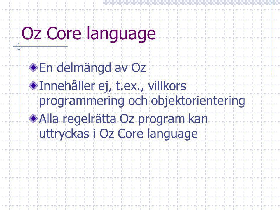 Oz Core language En delmängd av Oz Innehåller ej, t.ex., villkors programmering och objektorientering Alla regelrätta Oz program kan uttryckas i Oz Core language