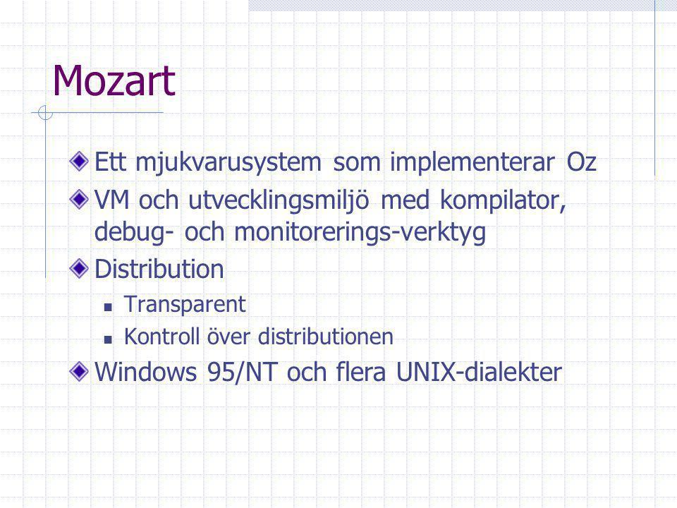 Mozart Virtual Machine - MVM Baseras på Warren Abstract Machine Registermaskin Består av: Motor Schemaläggare Garbage Collector Store – variabelsystem Kan ladda sub-system dynamiskt, t.ex.
