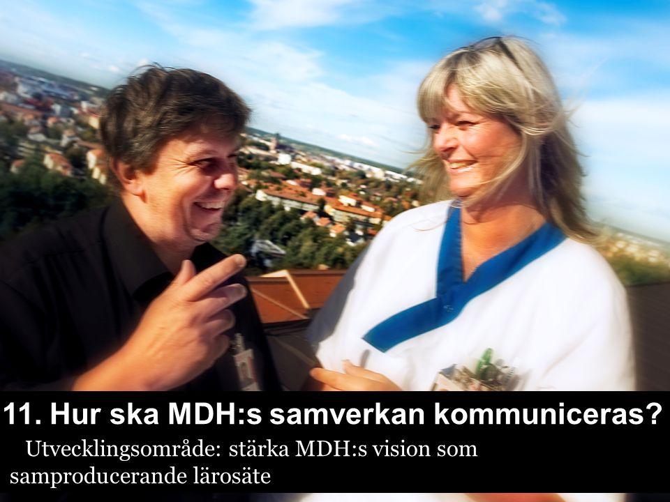 11. Hur ska MDH:s samverkan kommuniceras? Utvecklingsområde: stärka MDH:s vision som samproducerande lärosäte