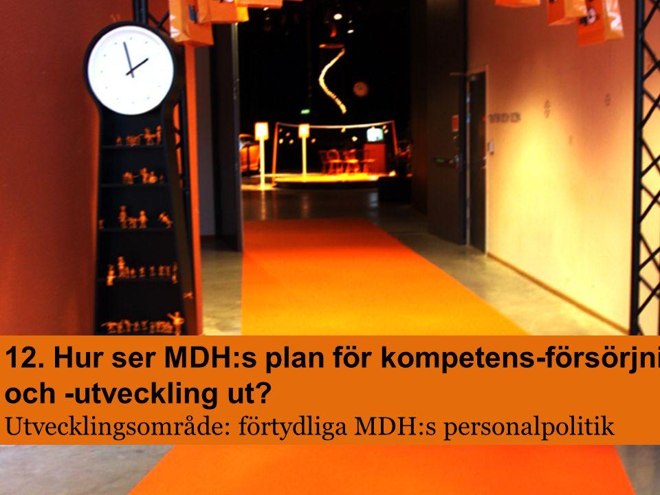 12. Hur ser MDH:s plan för kompetens-försörjning och -utveckling ut? Utvecklingsområde: förtydliga MDH:s personalpolitik