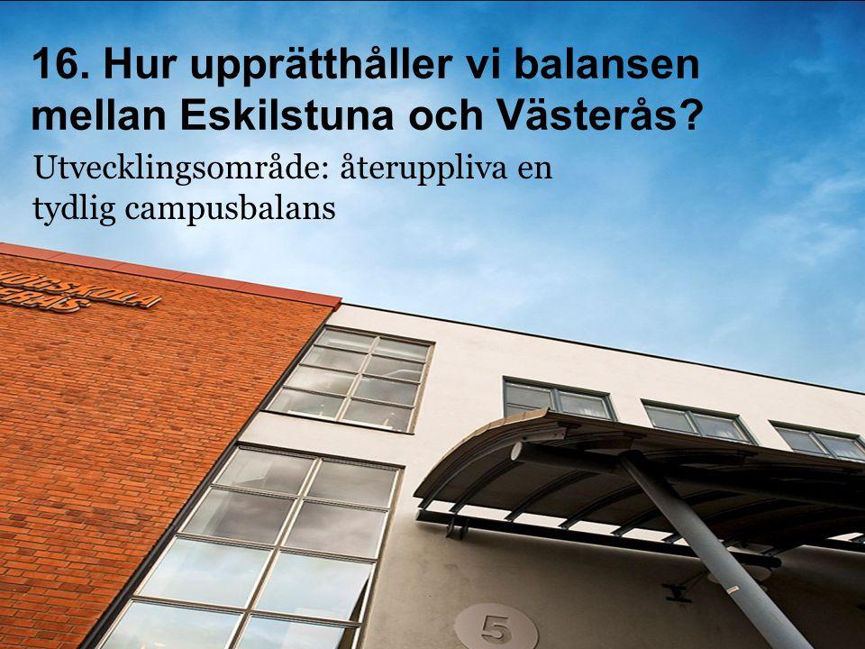 Utvecklingsområde: återuppliva en tydlig campusbalans 16. Hur upprätthåller vi balansen mellan Eskilstuna och Västerås?