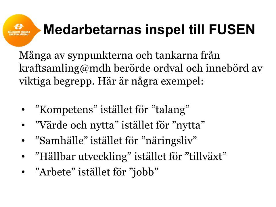 """Medarbetarnas inspel till FUSEN """"Kompetens"""" istället för """"talang"""" """"Värde och nytta"""" istället för """"nytta"""" """"Samhälle"""" istället för """"näringsliv"""" """"Hållbar"""