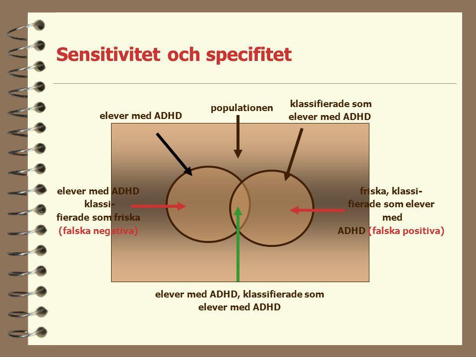 Sensitivitet och specifitet populationen sjuka klassi- fierade som friska (falska negativa) sjuka klassifierade som sjuka friska, klassi- fierade som