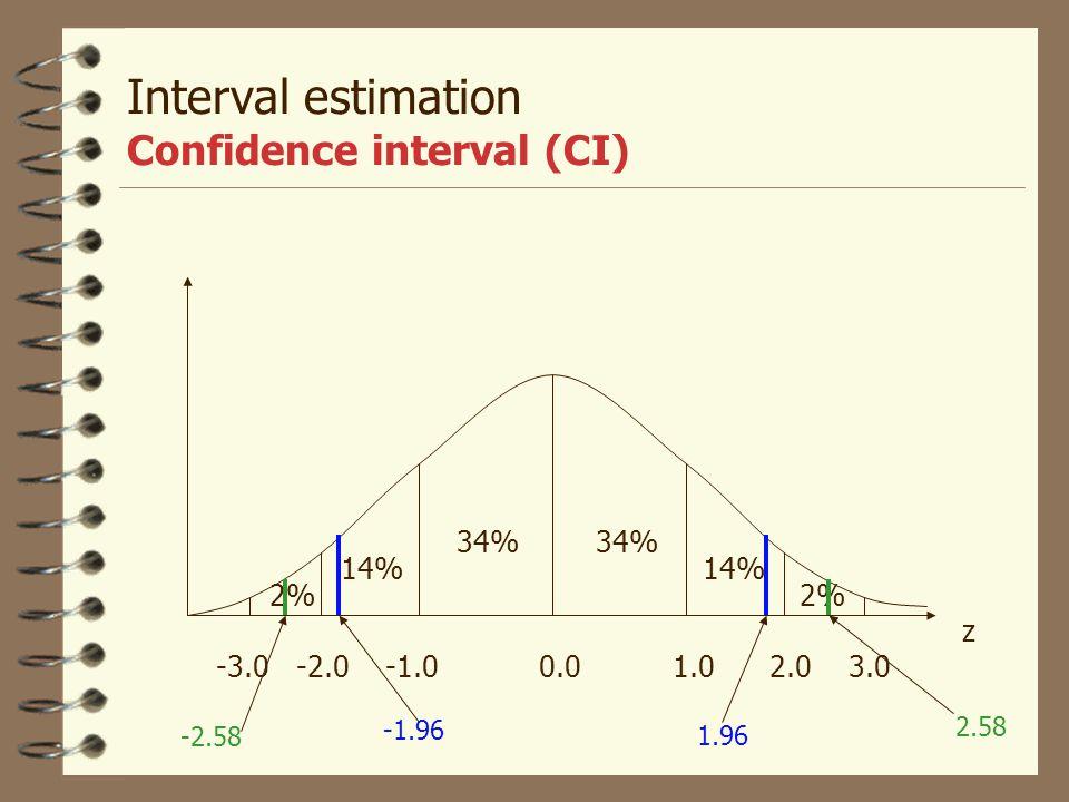 Confidence interval (CI) 4 De oftast använda risknivåerna är 5%, 1% och 0.1% med motsvarande konfidensintervall på 95%, 99% och 99.9%. Motsvarande z-p
