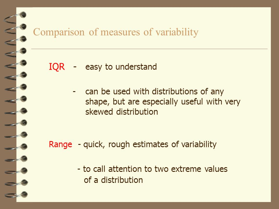 Comparison of measures of variability SD - the most widely reported measure of variability -serves best with distributions that are symmetric and have