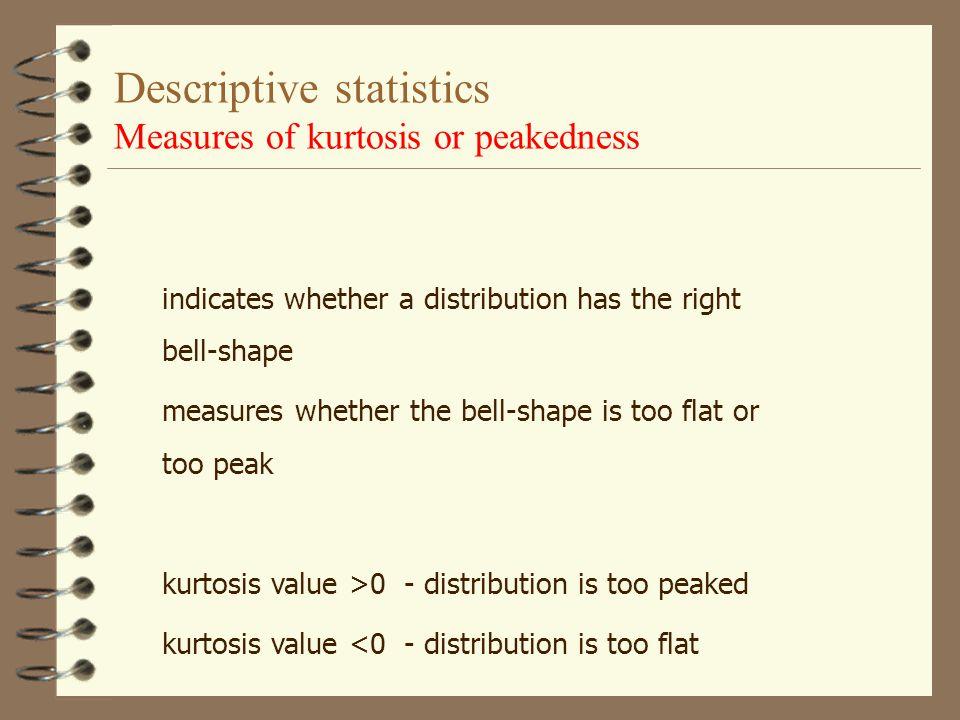 Descriptive statistics Measures of skewness or symmetry ModeMedian Mean Mode Positively skewed Negatively skewed