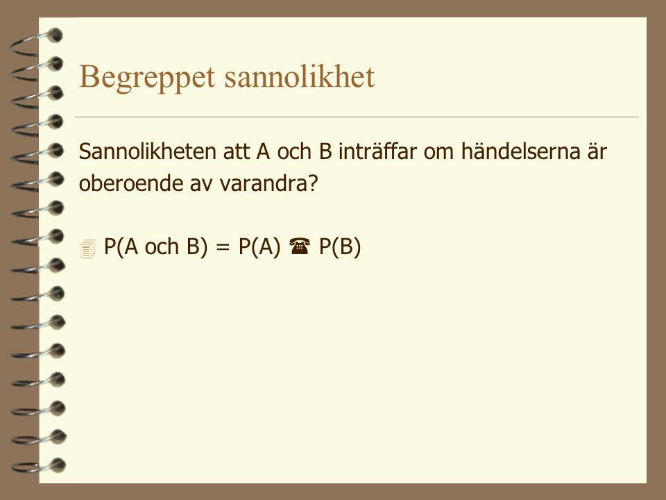 Begreppet sannolikhet Sannolikheten för att A eller B inträffar (A och B utesluter ömsesidigt varandra)? 4 P(A eller B) = P(A) + P(B) Sannolikheten at
