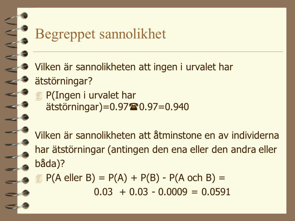 Begreppet sannolikhet 4 P(A och B) = P(A)  P(B) = 0.03  0.03 = 0.0009 Vilken är sannolikheten att exakt en av personerna har ätstörningar (= sannoli