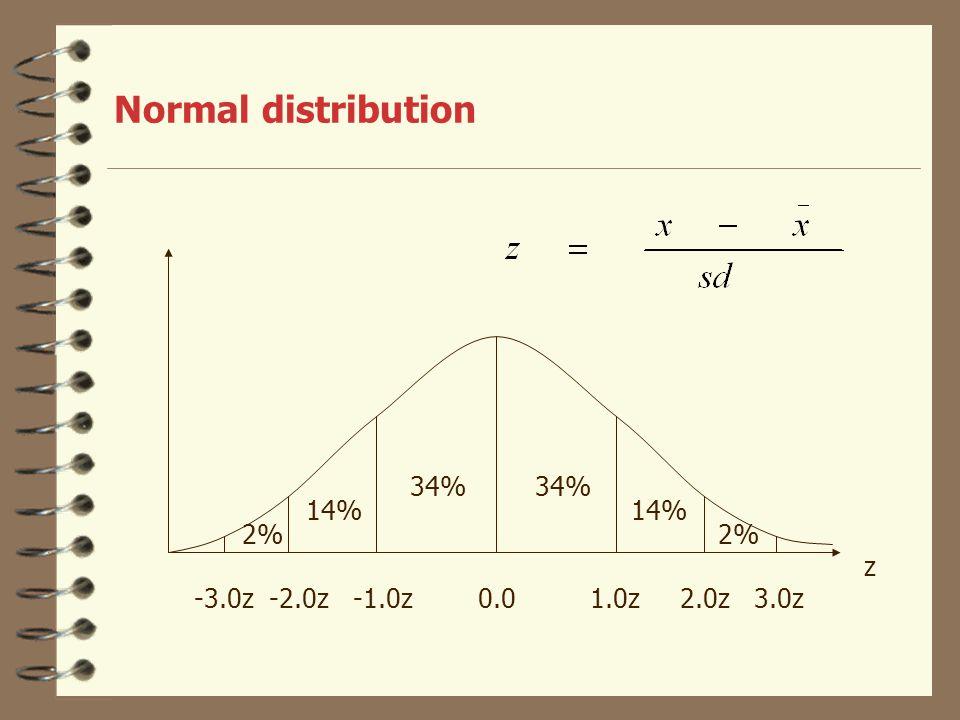 Normal distribution -3.0z -2.0z -1.0z 0.0 1.0z 2.0z 3.0z 34% 14% 2% z 55 70 85 100 115 130 145 IQ-skala IQ-skala:  =100, sd=15