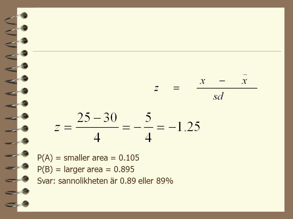 Standardiserade z-poäng Ex.: I ett normalfördelat material var medelvärdet  =30 och standardavvikelsen sd=4. Om man slumpmässigt väljer ut en person,