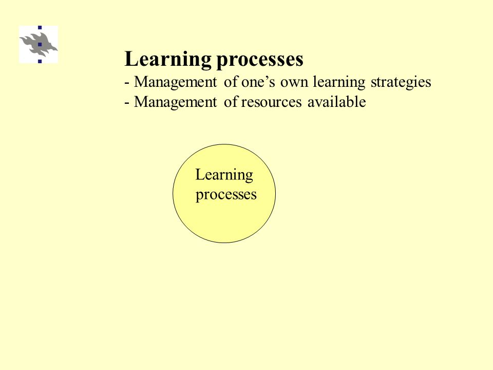 Learning processes Learning processes - Management of one's own learning strategies - Management of resources available