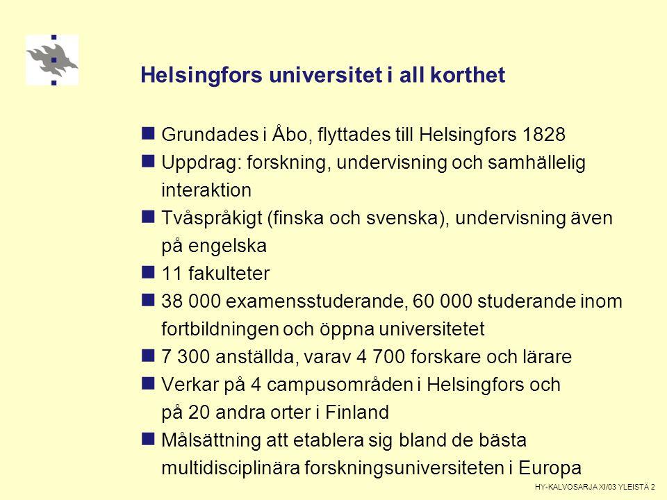Helsingfors universitet i all korthet Grundades i Åbo, flyttades till Helsingfors 1828 Uppdrag: forskning, undervisning och samhällelig interaktion Tvåspråkigt (finska och svenska), undervisning även på engelska 11 fakulteter 38 000 examensstuderande, 60 000 studerande inom fortbildningen och öppna universitetet 7 300 anställda, varav 4 700 forskare och lärare Verkar på 4 campusområden i Helsingfors och på 20 andra orter i Finland Målsättning att etablera sig bland de bästa multidisciplinära forskningsuniversiteten i Europa HY-KALVOSARJA XI/03 YLEISTÄ 2