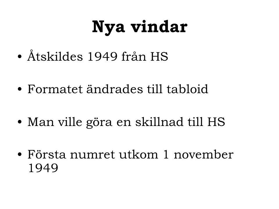 Nya vindar Åtskildes 1949 från HS Formatet ändrades till tabloid Man ville göra en skillnad till HS Första numret utkom 1 november 1949