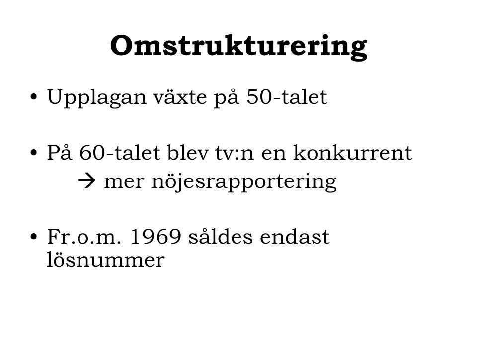 Omstrukturering Upplagan växte på 50-talet På 60-talet blev tv:n en konkurrent  mer nöjesrapportering Fr.o.m. 1969 såldes endast lösnummer